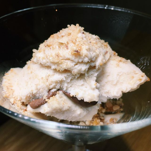 Gong tng Chinese peanut candy with peanut butter ice cream.