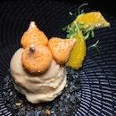Orange Sensation (orange cream and marmalade, orange black sesame biscuit, blood orange sorbet) from Mikuni at Fairmont Singapore.