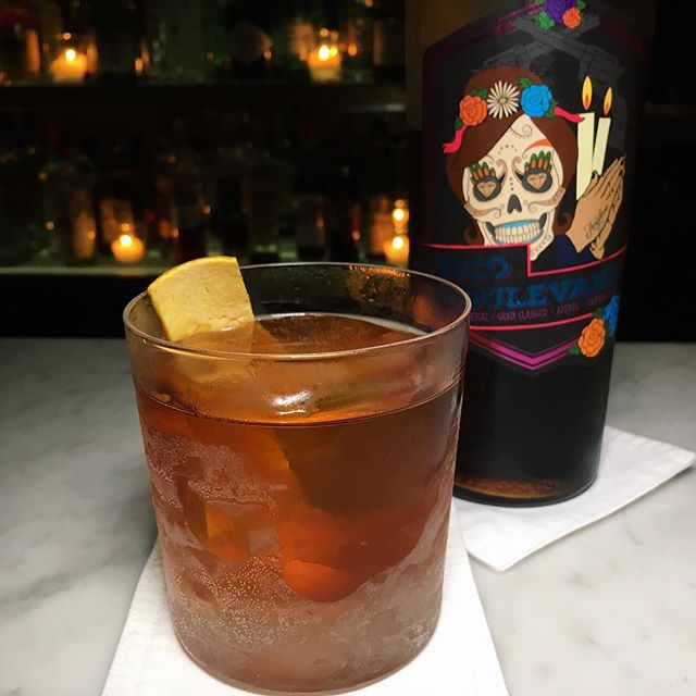 "Fatback Ears Down: ""Pico"" (Alipus Mezcal, Gran Classico, Aperol Mancini Rosso) from Angeleno, situated along Gemmill Lane (Telok Ayer)."