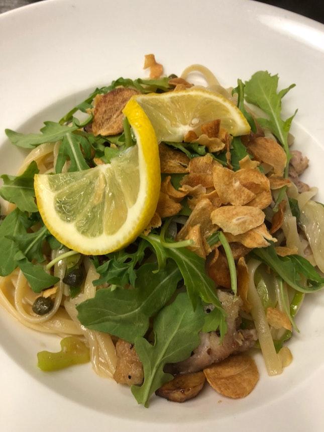 Sea Bass Pasta & Garlic Carbonara