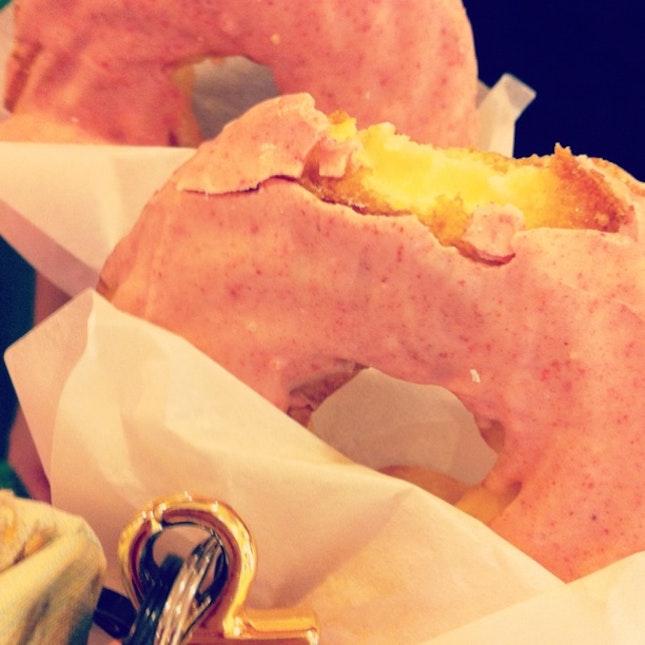 Custard Filled Strawberry Glazed Doughnuts