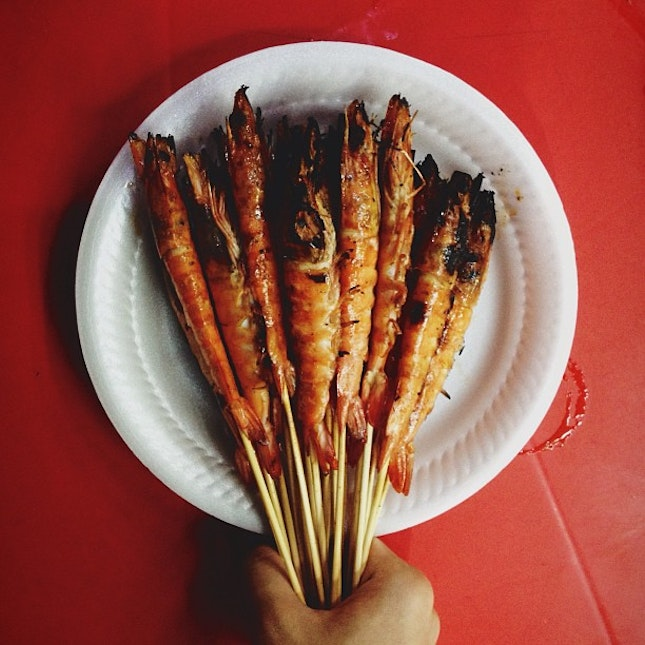 Grilled prawn popsicle.