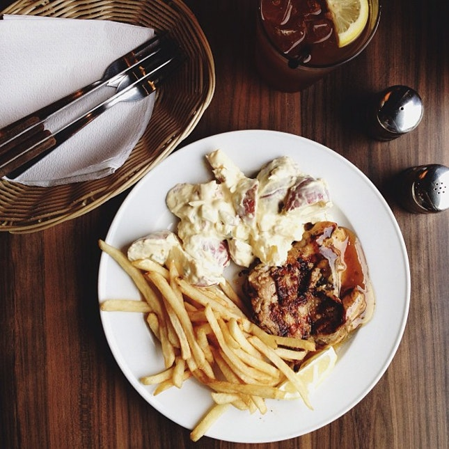 Potato salad x fries x grilled chicken with lime dressing.