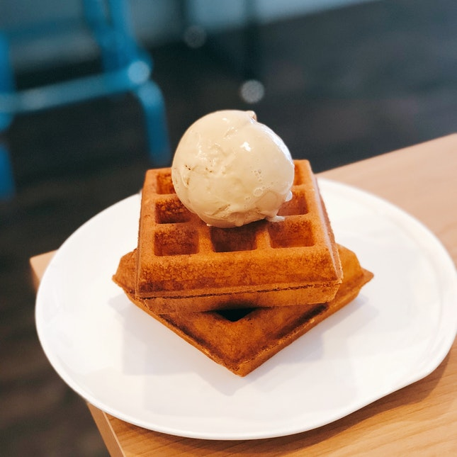 Salted Caramel Ice Cream on Original Waffles ($9.50 U.P.; On Burpplebeyond)