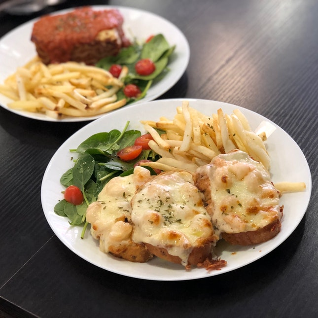 Garlic Truffle Prawn Pizza Toast, Beef Lasagna ($16 Each U.P.; On Burpplebeyond)