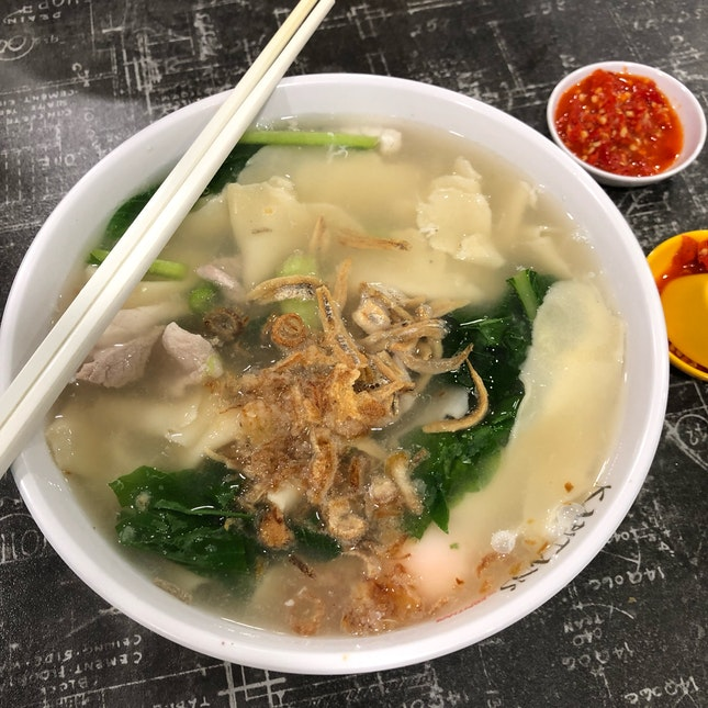 Mee Hoon Kueh With Fish Slices ($6.80)