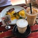 Egg Ben-n-Jamin, Chai Latte, Iced Latte