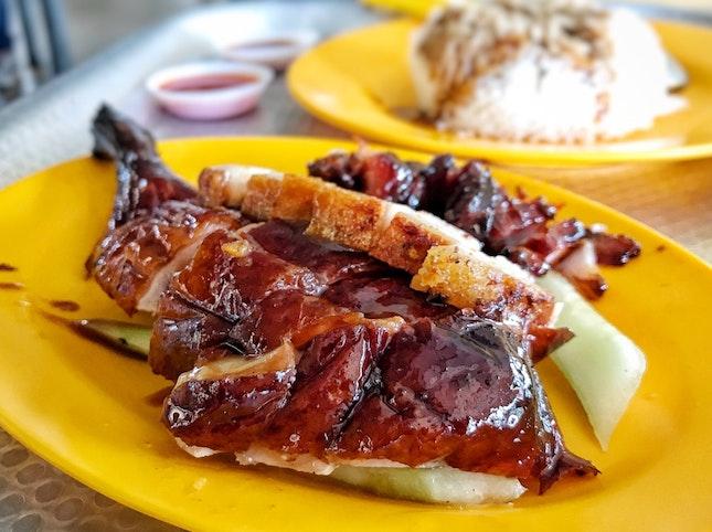 Roast Duck, Char Siew, and Roast Pork with Rice ($8)