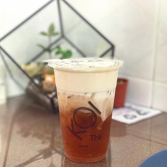Black Tea Maachiato ($2.80) .