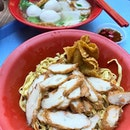 Fishball Noodles ($3.30 with extra ingredients) .