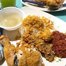 Nasi Ayam Penyat [Smashed Fried Chicken with Rice] ($5) .