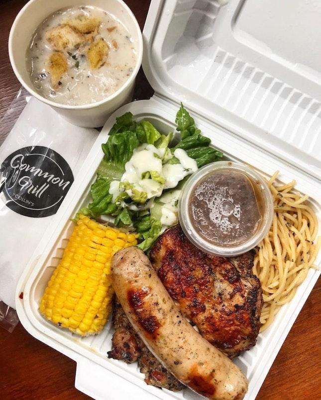 Combo Grill - Chicken Chop, Lamb Chop and Pork Bratwurst served with Corn Cob & Aglio Olio ($14.50)