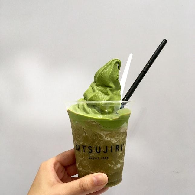 Houjicha Parfait with Green Tea Soft Serve
