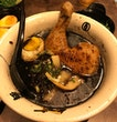 Chicken leg ramen with black soup (with garlic oil)