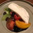 Burrata with seasonal tomato, fruity olive oil 28 [$28]