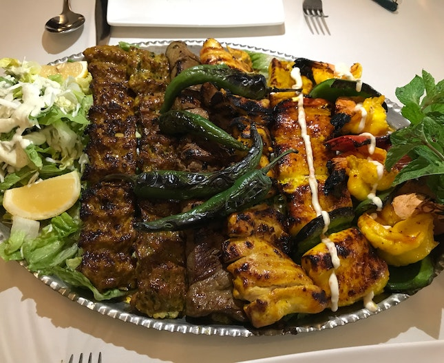 Shabestan Platter For 4 - Chef's recommended specialty platter combo with minced lamb, chicken, fish, prawn and beef fillet [$165]