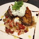 Roasted Chicken Leg with baharat spice, cous cous, The Providore's aubergine chutney & minted yoghurt [$26.50]