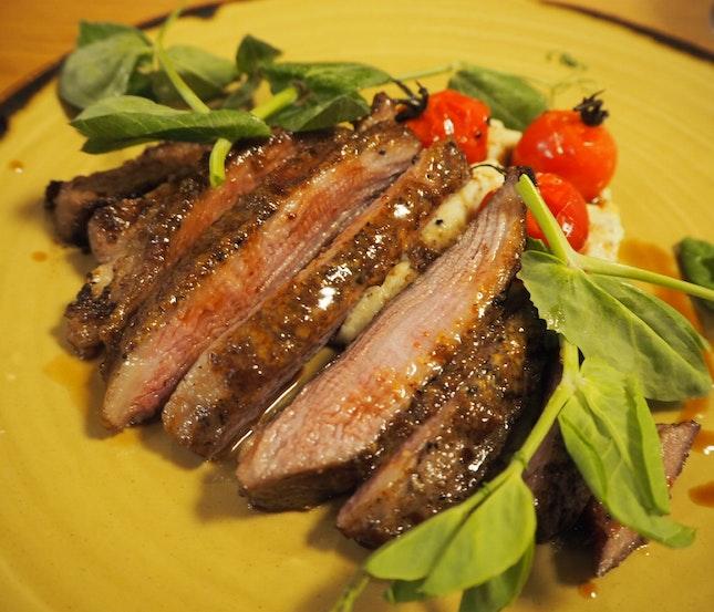 Iberian Pork Secreto | Iberian Pork Shoulder Blade, Pommery Mustard, Creamy Tangy Mash [$26]