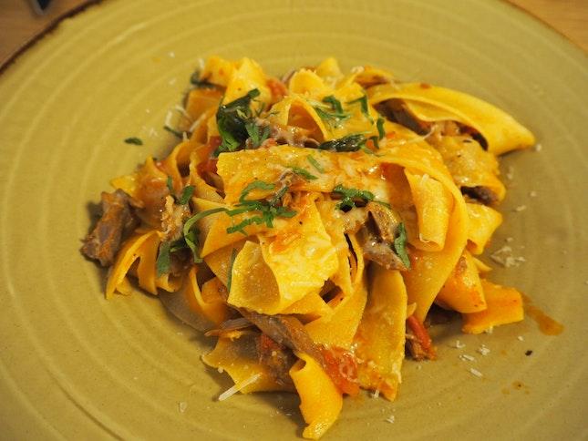 Duck Ragout | Pappardelle, Parmesan Sauce, Herbs [$24]