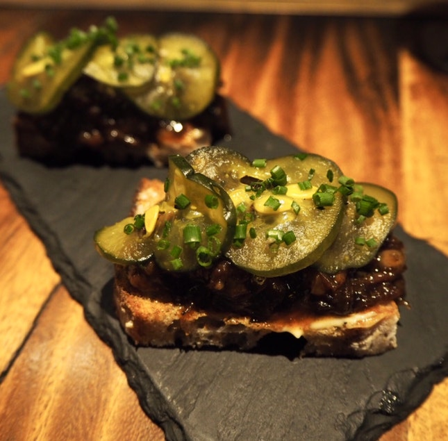 Beef marmalade & house pickles [$14]