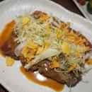 Beef Tataki sesame dressing, pickled enoki mushroom, garlic chips [$20/$38]