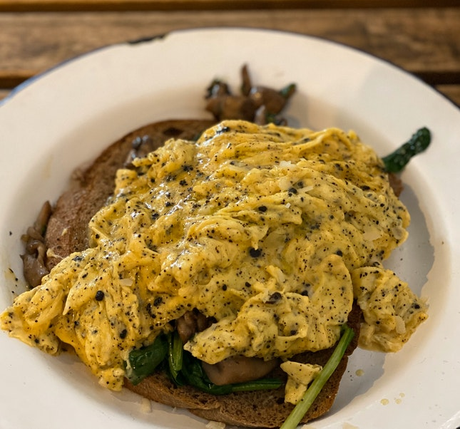Centre of a Knock Out Meal - Truffle Scrambled Eggs [$22.50]