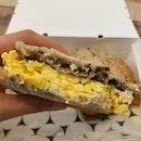 Mushroom, Bacon & Egg Toastie [$19]