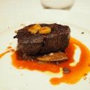 Grain fed beef tenderloin with bone marrow sauce and porcini mushroom