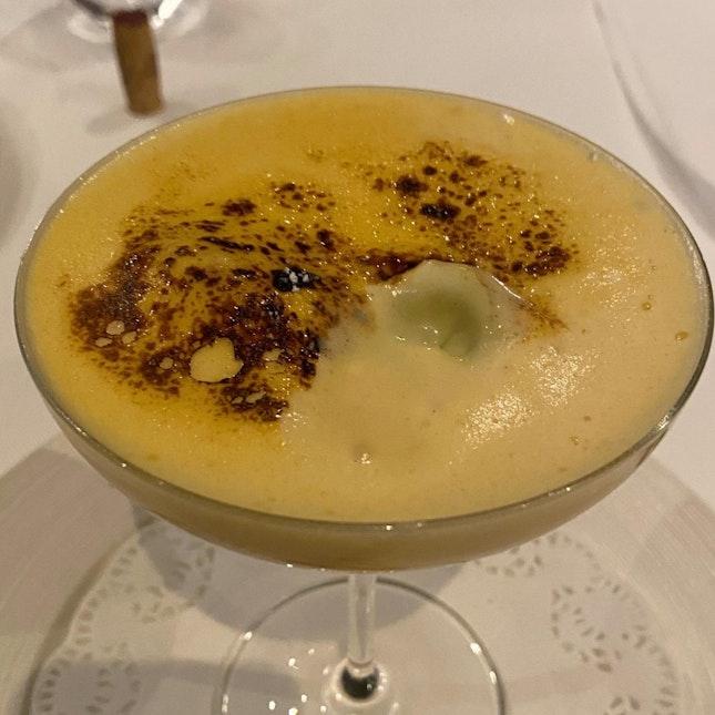 Marsala wine sabayon with Sicilian pistachio ice cream