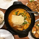 Delicious claypot curry fish; lots of ingredients in it.
