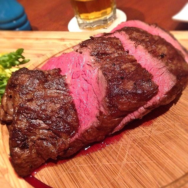 Australian chateaubriand medium rare at pepper steakhouse.