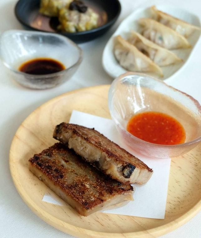 Chicken & Porcini Mushroom Siew Mai // Clam & Cabbage Guo Tie // Pan-fried Carrot Cake