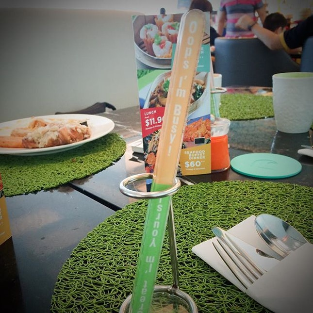 This thermometer-like stick is actually your table availability indicator.