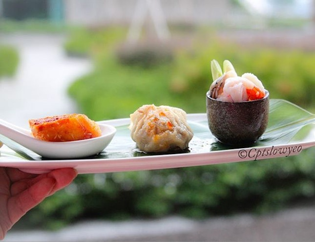 Asian inspired petite of trio starters.