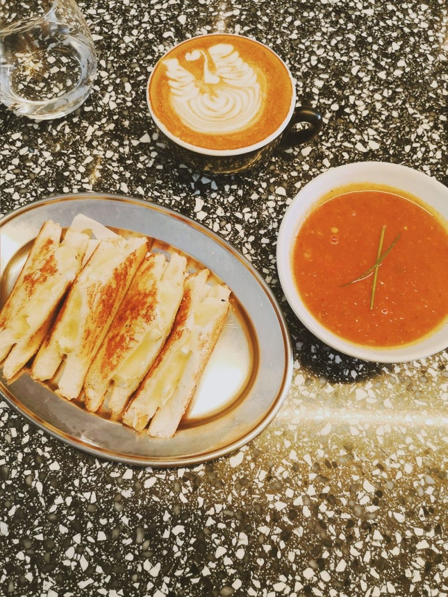Grilled Cheese Sandwich & Flat White