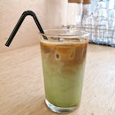 Macha Latte With Expresso Shot
