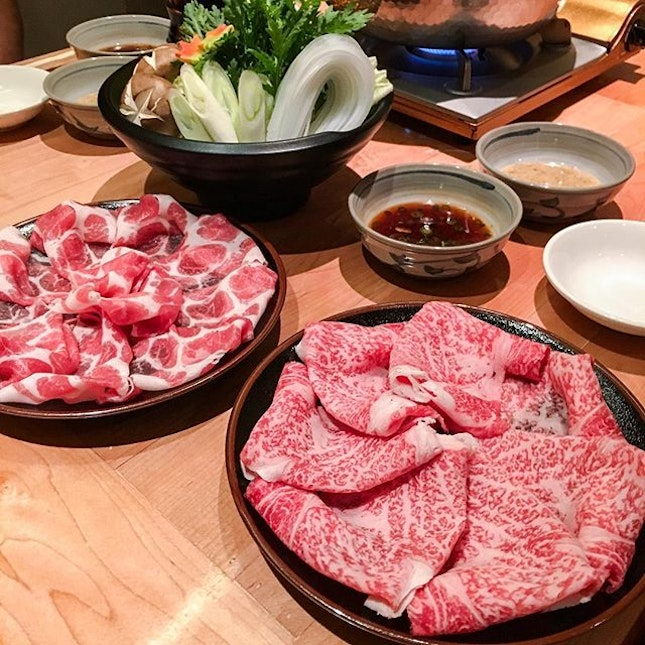 🍴Special Japanese Wagyu Shabu Shabu Set [S$150+] Comes with appetizer, salad, porridge & pickles or udon with dessert.