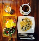 Smoked salmon egg Benedict , seafood aglio olio, salted caramel coffee and tea.