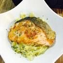 Honey garlic salmon with pasta in creamy mushroom sauce, but the pasta seems like meepok tossed in pasta sauce.