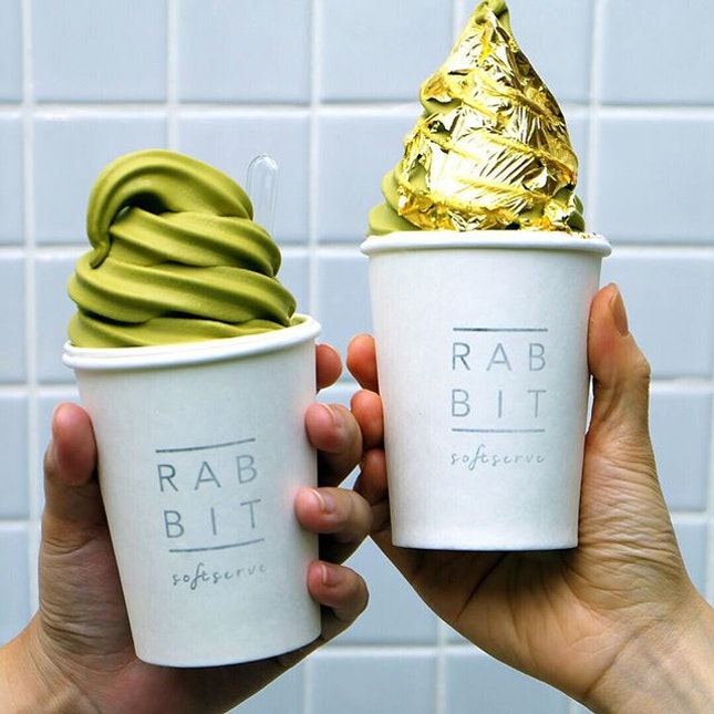 Rabbit 🐰 Softserve Uji matcha softserve looks so much better with gold leaves.