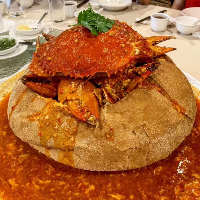 Sweet Chili Crab in French Bread Bowl