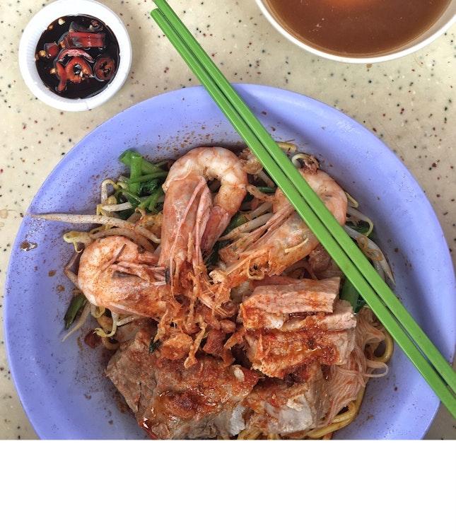 Prawn And Pork Rib Noodle Dry ($5.50)