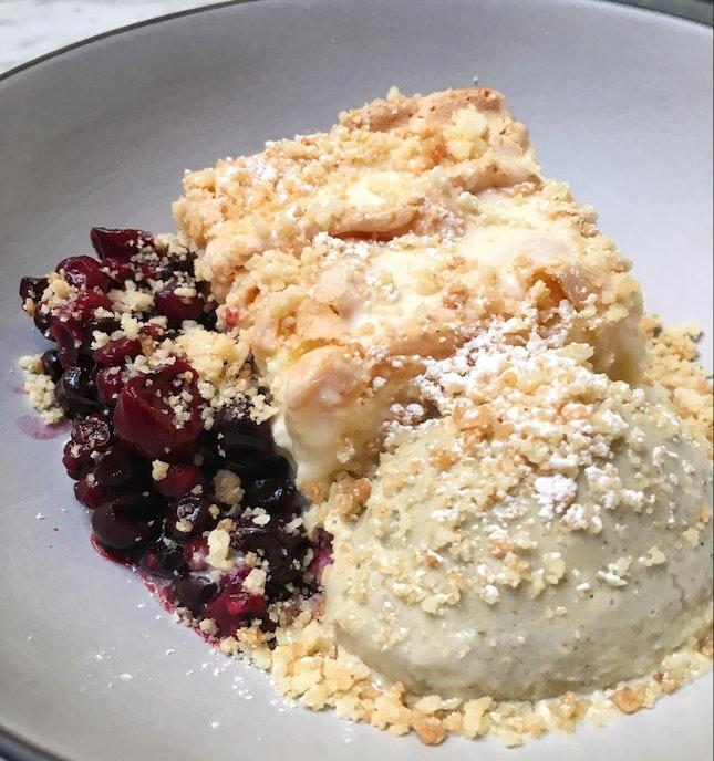 Sponge Cake, Mixed Berries, Yerba Mate Sorbet