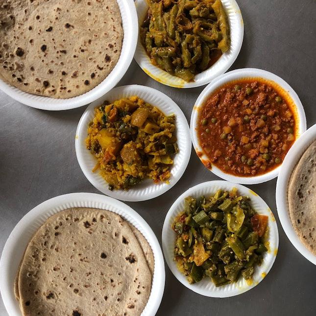 Chapati, Mutton Keema, Bittergourd, Ladies Fingers, Potato & Cauli