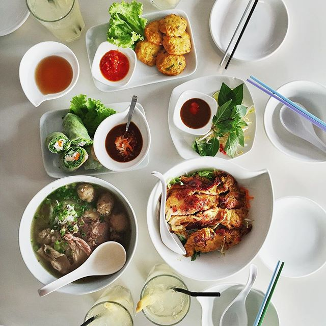 A delectable spread of Vietnamese food at Pho Stop.