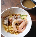 {Prawn and Pork Rib noodles dry} at the [NEW] Red Noodle & Bottle Bar at Fusionopolis.