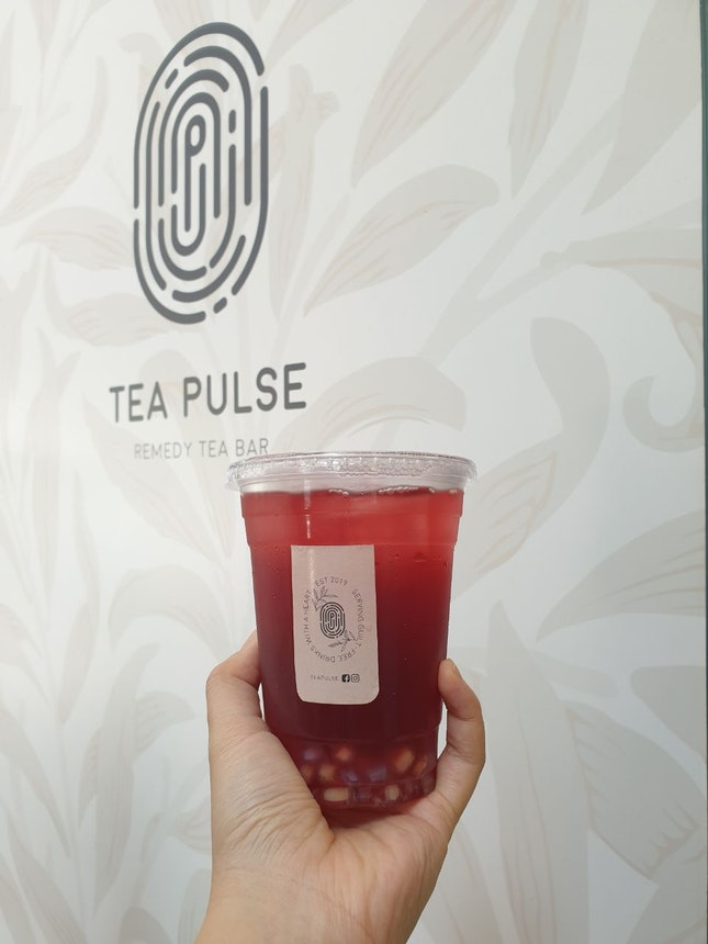 Hibiscus Hawthorn Kombucha + Chestnut Pearls & Less Sugar @ Tea Pulse [$5.60/2]