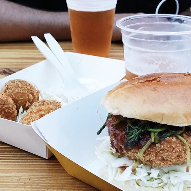 BEEF KATSU - beef patty katsu with sambal tonkatsu sauce, kewpie mayo and pea shoots - and some freaking awesome croquettes in the background.