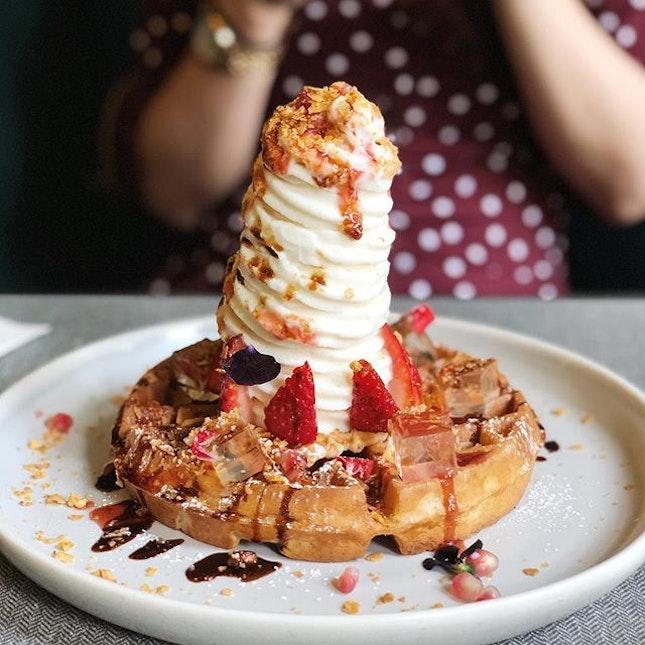 The strawberry and elderflower sundae and waffles - Tahitian vanilla ice cream, fresh strawberries and strawberry sauce, elderflower jelly, sumac, pomegranate and pistachio crumb.