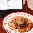 Date pudding with smoked milk custard, cashew caramel, coffee jelly and sea salt.